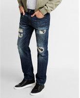 Express Slim Fit Straight Leg Rigid Destroyed Jeans