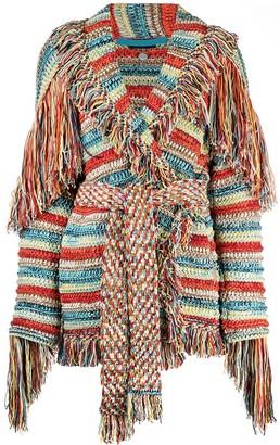 Alanui Fringed Intarsia-Knit Cardigan
