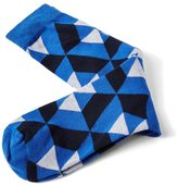 Frank + Oak Geometric Patterned Socks in Blue Heather