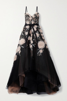 Marchesa Layered Grosgrain-trimmed Embellished Fishnet And Tulle Gown - Black