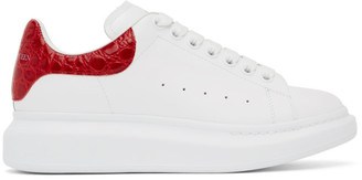 Alexander McQueen White and Red Croc Oversized Sneakers