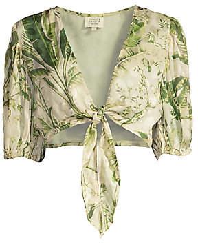 HEMANT AND NANDITA Women's Tie-Front Crop Top