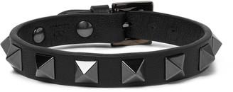 Valentino Rockstud Leather And Ruthenium Bracelet