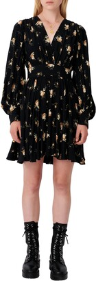 Maje Floral Long Balloon Sleeve Dress