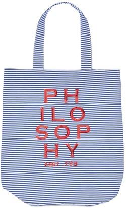 Philosophy di Lorenzo Serafini Striped Poplin Bag W/ Sequined Logo