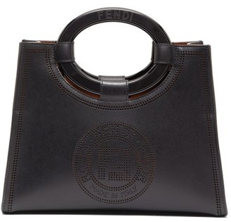Fendi Runaway Small Perforated-leather Tote Bag - Black