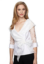 Alex Evenings Illusion Sleeve Portrait Collar Blouse