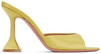 Amina Muaddi Yellow Satin Caroline Heeled Sandals