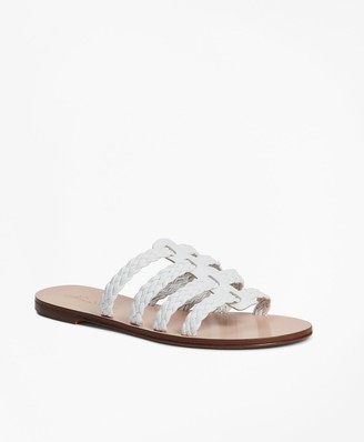 Brooks Brothers Braided Leather Slide Sandals