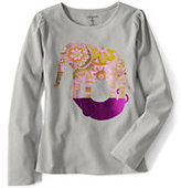 Classic Little Girls' Long Sleeve Elephant Graphic T-shirt Navy Daisy Floral