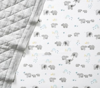 Pottery Barn Kids Organic Flannel Hippo Fitted Crib Sheet