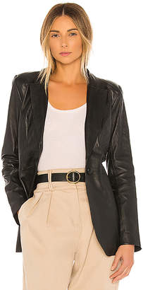 L'Academie Carmen Leather Blazer