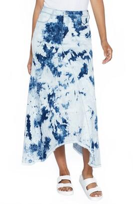 WASH LAB Pieced Tie Dye Denim Skirt