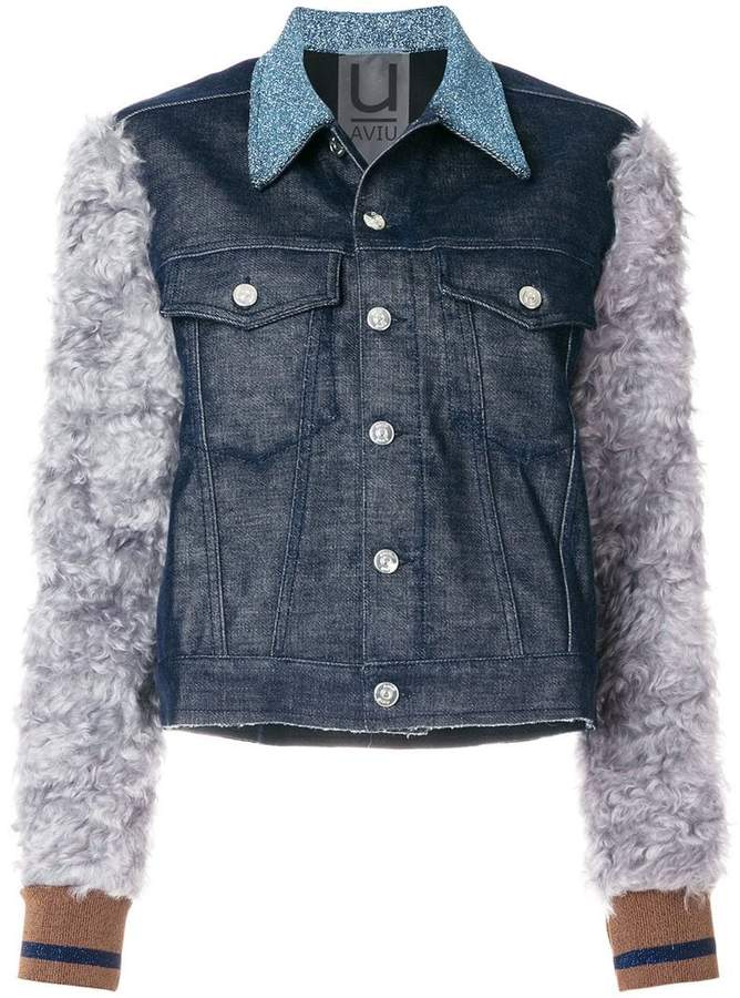Aviu denim jacket with mohair sleeves