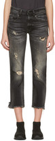 R 13 Black Shredded Straight Boy Jeans