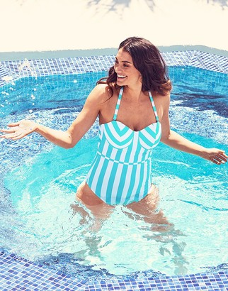 Figleaves Corsica Underwired Bandeau Tummy Control Swimsuit D-G cup