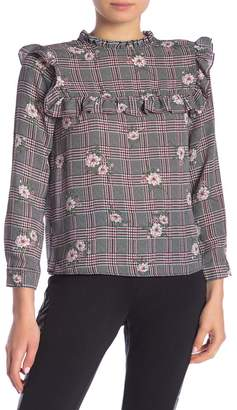 SWEET RAIN Floral Plaid Mock Neck Ruffled Blouse
