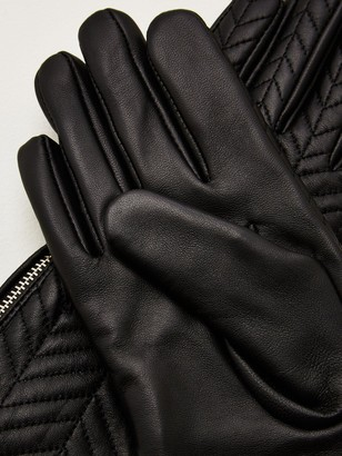 Very Leather Quilted Zip Side Gloves - Black