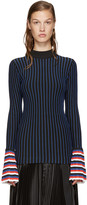 Emilio Pucci Navy & Red Striped Top