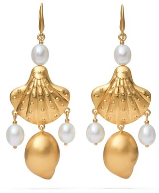 Tory Burch Shell & Pearl Drop Earring