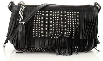 Saint Laurent Fringe Crossbody Bag Studded Leather Small