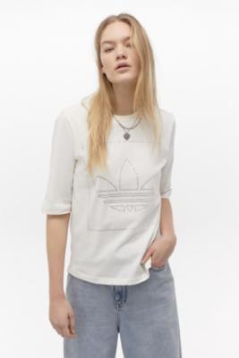 adidas Diamante Logo T-Shirt - White UK 12 at Urban Outfitters
