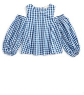Soprano Girl's Gingham Cold Shoulder Top