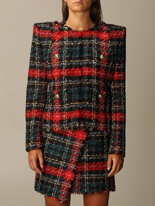 Balmain Blazer Tartan Tweed Jacket With Shoulder Pads