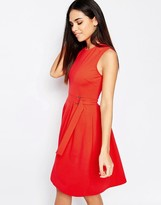 Warehouse Belted Skater Dress