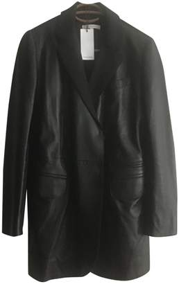 Carven Black Leather Coat for Women