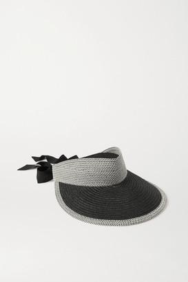 Eugenia Kim Ricky Grosgrain-trimmed Faux Raffia Visor - Black