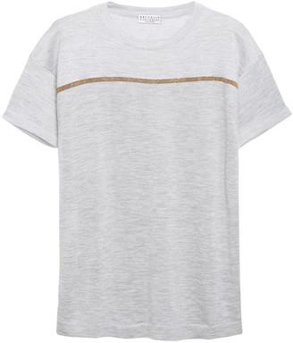Brunello Cucinelli Bead-embellished Melange Cashmere And Silk-blend T-shirt