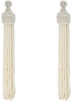 Kenneth Jay Lane White Pearl Seed Bead Tassel Direct Post Ear Earrings Earring