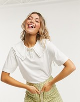 Monki Magnhild organic cotton oversized collar t-shirt in white
