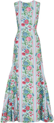 Emilia Wickstead Malcom Open-back Floral-print Cloque Gown