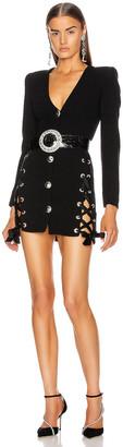 Alessandra Rich Lace Up V Neck Tweed Mini Dress in Black   FWRD
