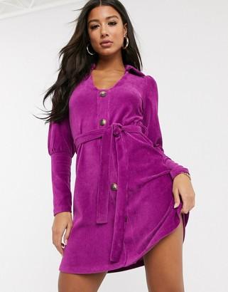 Asos Design DESIGN cord shirt mini dress