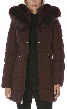 Laundry by Shelli Segal Hooded Faux Fur Trim Puffer Coat