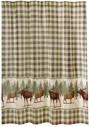 Overstock Fabric Shower Curtain with Plaid and Animal Print, Green and Brown