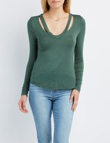 Charlotte Russe Strappy V-Neck Cut-Out Tee