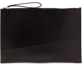 Nosakhari - Geometry Large Leather Document Holder - Mens - Black