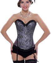 Anvoro Women's Overbust Corset Top Burlesque Sexy Lingerie with Garter