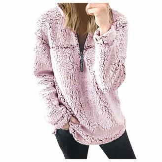 BUKINIE Womens Casual Oversized Sherpa Fleece Jacket Hoodies Zip Up Fluffy Fleece Sweatshirt Outwear Coats(Pink Medium)