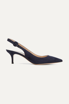 Gianvito Rossi Anna 55 Suede Slingback Pumps - Navy