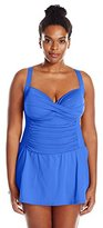 LaBlanca La Blanca Women's Plus-Size Island Goddess Over-The-Shoulder Skirted Swimsuit