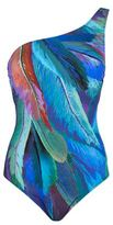Gottex Feather Print One Shoulder Swimsuit