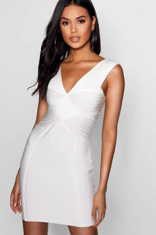 boohoo Sara Bandage Plunge Cut Out Bodycon Dress
