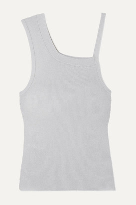 Peter Do Asymmetric Metallic Ribbed-knit Tank - Silver