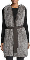 Halston Fur-Front Sweater Vest W/Belt, Stone Gray