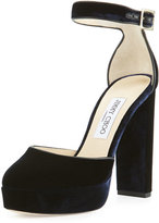 Jimmy Choo Daphne Velvet Ankle-Wrap Sandal, Navy